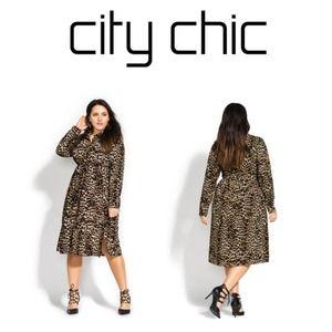 City Chic Leopard Print Dress